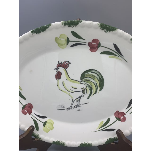 Ceramic 1950s Blue Ridge Rooster Platter From Southern Potteries For Sale - Image 7 of 8