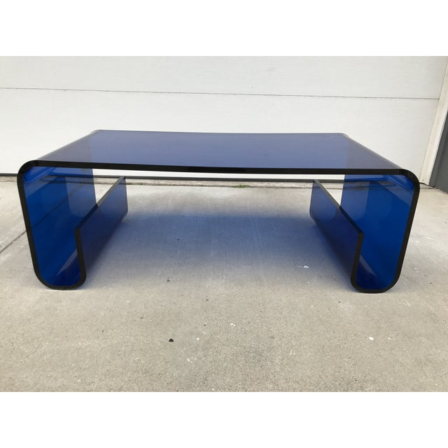 Mid Century Modern Blue Lucite Scroll Coffee Table
