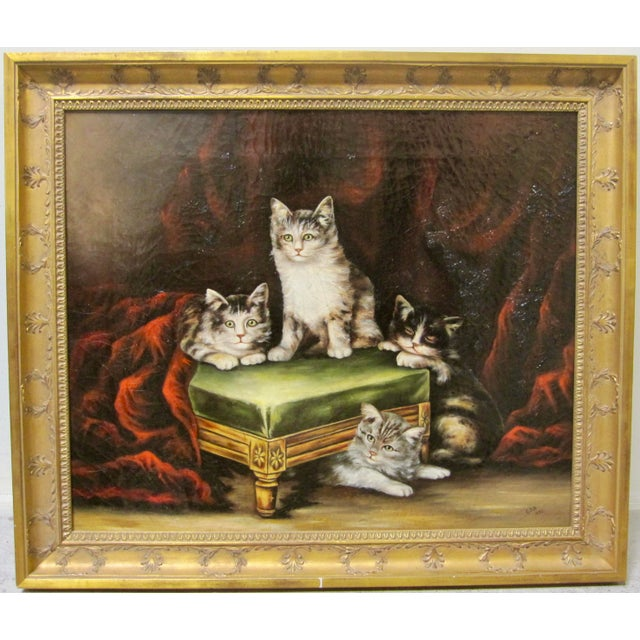 Late 19th Century Antique Henriette Ronner Style Signed Kitten Oil Painting For Sale - Image 11 of 11
