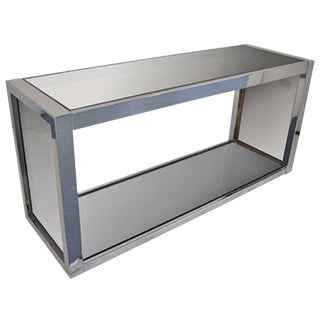 Brass and Chrome Console For Sale