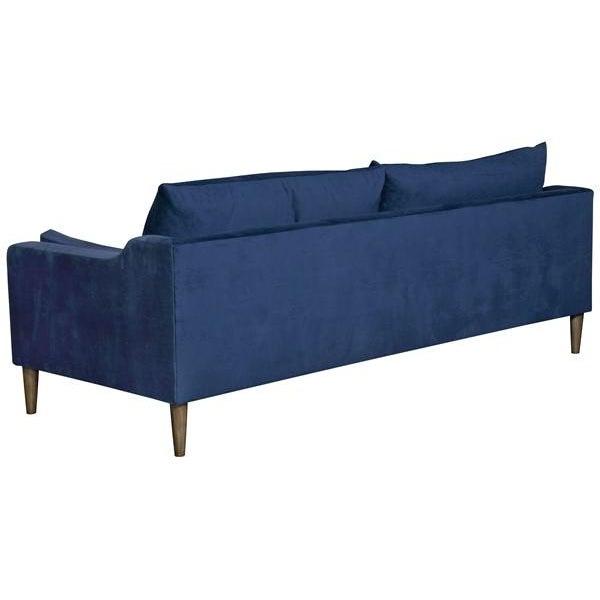 "Vanguard Furniture 86"" Vanguard Performance Navy Ultrasuede Mid-Century Inspired 2-Cushion Sofa For Sale - Image 4 of 5"