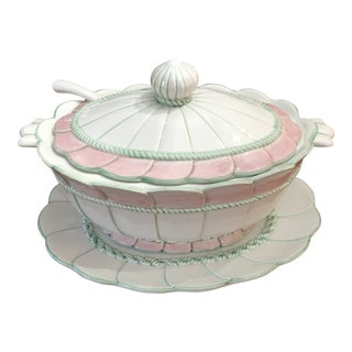 Vintage 1970s Jay Willfred of Sadek Pink and Green Tureen For Sale