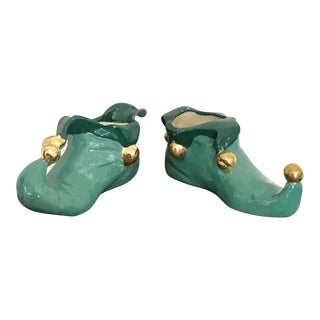 StudioTurquoise Clown Shoes With Gold Pompons - a Pair