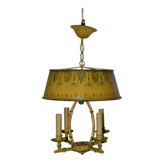 Vintage 1930s Hand Painted Toleware Four Light Chandelier For Sale