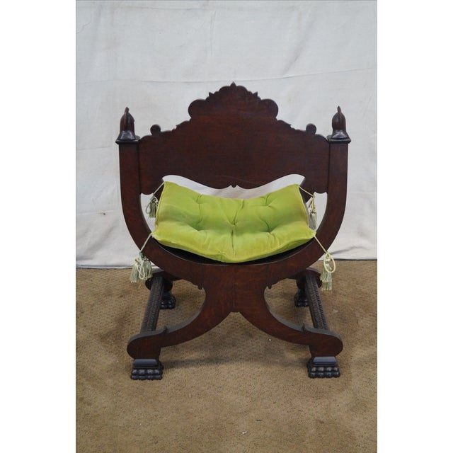 19th Century Oak Renaissance Savonarola Arm Chair - Image 6 of 10