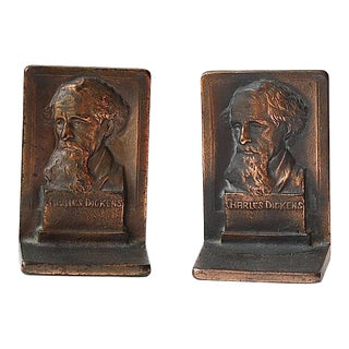Charles Dickens Vintage Bookends - A Pair For Sale