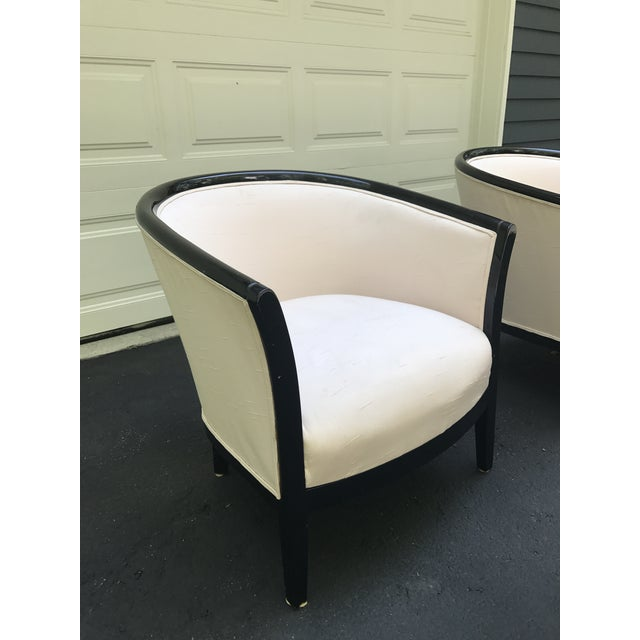 Blush Club Chairs With Black Lacquer Frame - Ward Bennett Style - a Pair - Image 5 of 10
