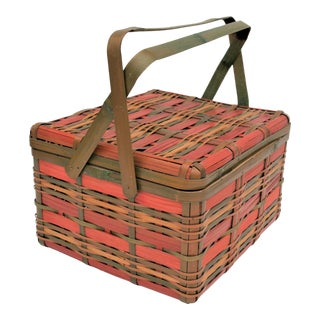 Vintage Japanese Wicker Basket For Sale