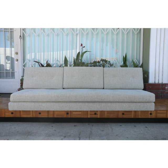 Brutalist Adrian Pearsall Patched Burlwood Platform Sofa For Sale - Image 3 of 12