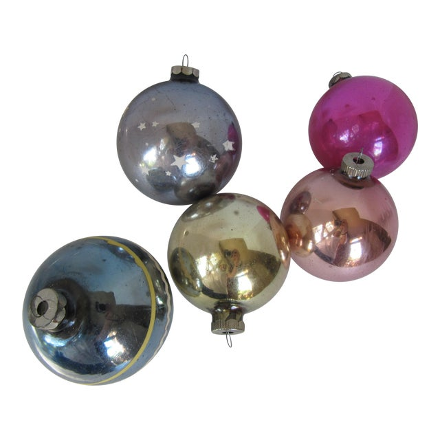 Christmas Ornaments Shiny Brite - S/5 - Image 1 of 6