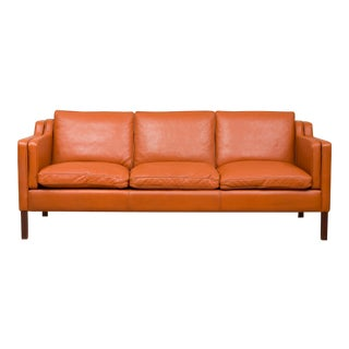 1970s Vintage Stouby Cognac Leather 3 Seat Sofa For Sale