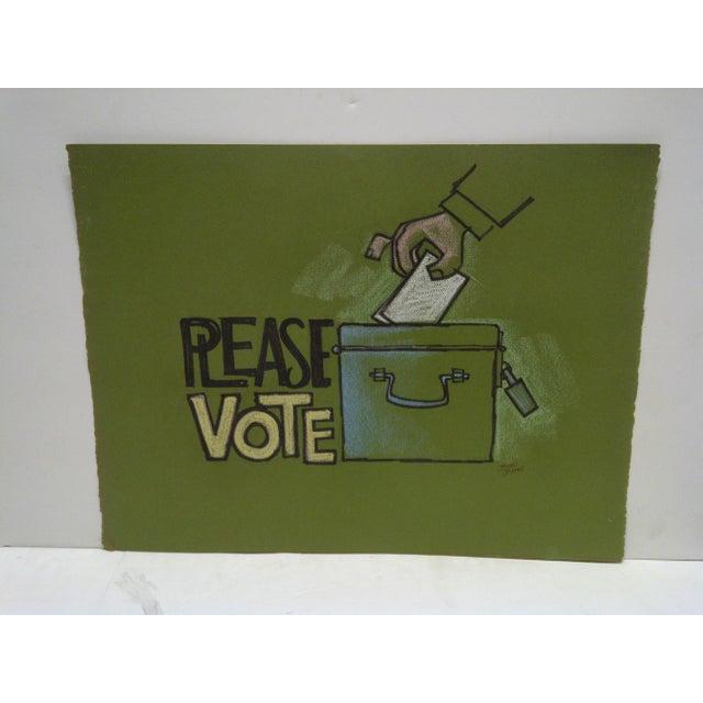 "Vintage ""Please Vote"" Pittsburgh Post Gazette Sketch - Image 2 of 3"