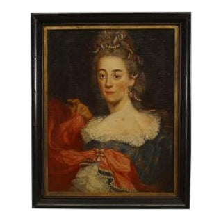 American Victorian ebonized framed oil portrait, painting of 19th Century lady in blue and red dress