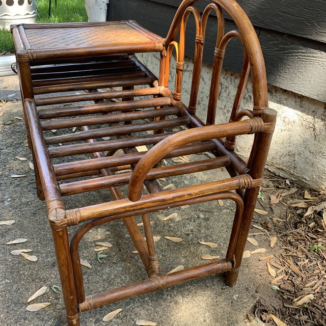 Wood Vintage Rattan and Woven Telephone Bench/ Gossip Table For Sale - Image 7 of 9
