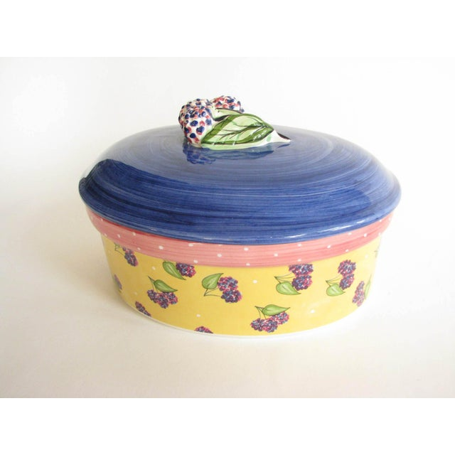 Beautiful vintage Essex Collection ceramic lidded casserole serving dish with Bois d'Arc Tutti Fruitti blackberry design...