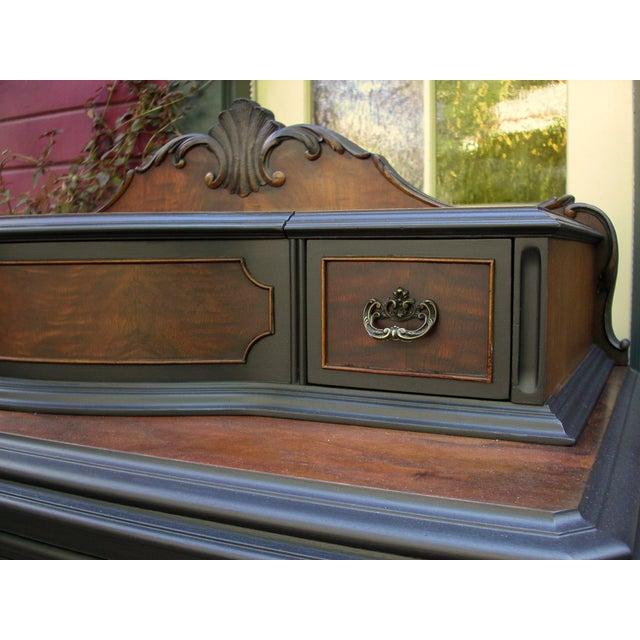 Vintage Flame Walnut & Black Highboy Dresser - Image 7 of 10
