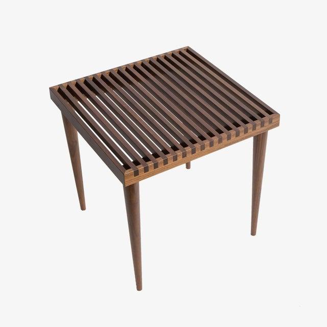Modern Smilow Furniture Walnut Slat Wood Side Tables/Stools For Sale - Image 3 of 6