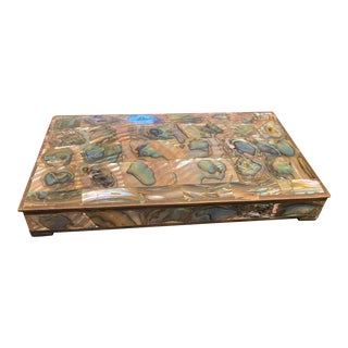 Vintage Tessellated Abalone Low Box For Sale