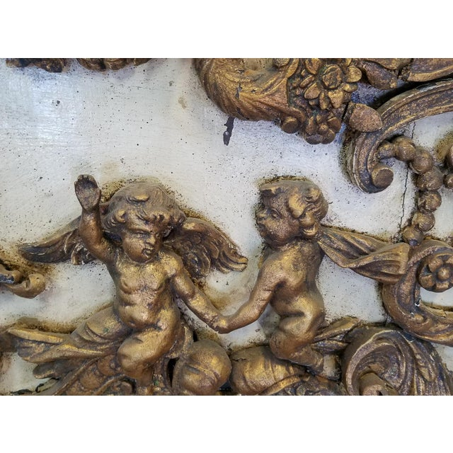 Antique Italian 19th Century Carved Wood Gilded Cherub Putti Panel - Image 6 of 11