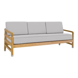 """Linley Large Sofa in Fashionable Grey with Moonlit Orchid Welt, 75"""" For Sale"""