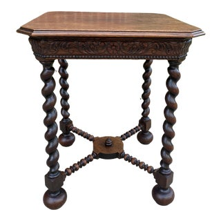 Antique French Barley Twist Leg End Table For Sale