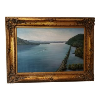 "Americana Painting, ""View South Down the Hudson River"" For Sale"
