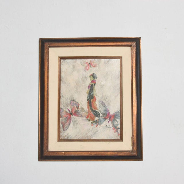 Mixed Media Art, Japanese Woman Pink Butterflies, Signed Painting For Sale - Image 11 of 11