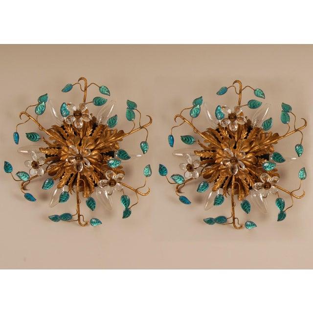 1970s Mid-Century Italian Murano Glass Sunburst Sconces, Venice - a Pair For Sale - Image 11 of 11