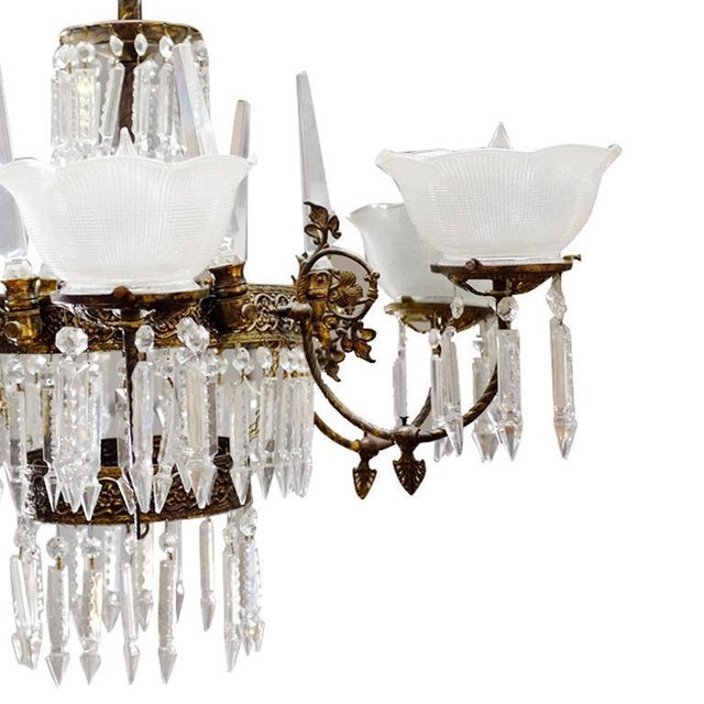 Renaissance Style Brass and Crystal Gas Style Chandelier For Sale - Image 4 of 5