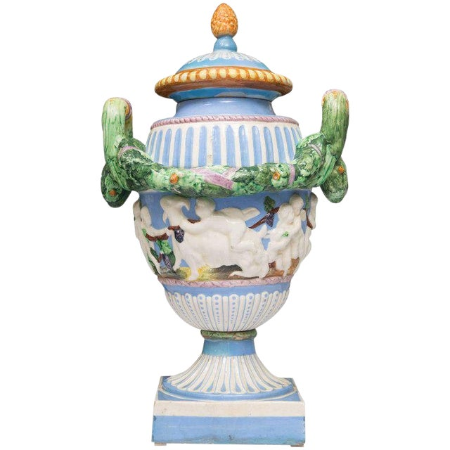 19th Century Della Robbia Italian Hand-Painted and Glazed Lidded Urn For Sale