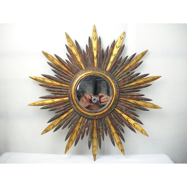 French Carved Wood Starburst Mirror For Sale - Image 4 of 8