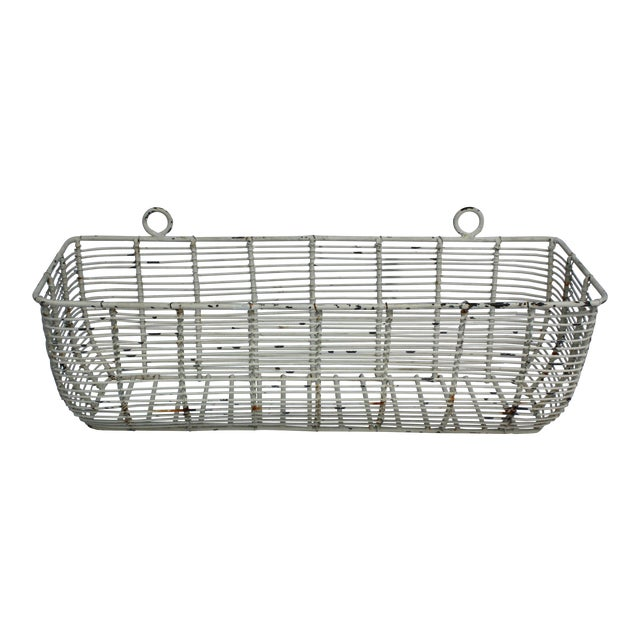 White Iron Basket Planter - Image 1 of 3