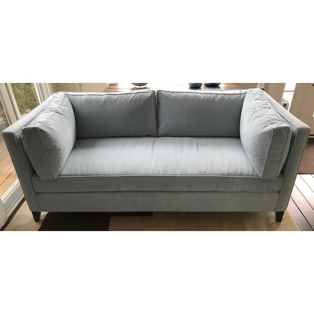 Sky blue velvet sofa with upgraded cushions. By Alden Parks.