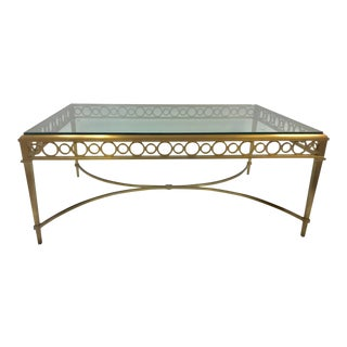 1950s Maison Jansen Bronze and Glass Coffee Table For Sale