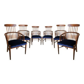 Set of Six Modernist Windsor Style Dining Chairs For Sale