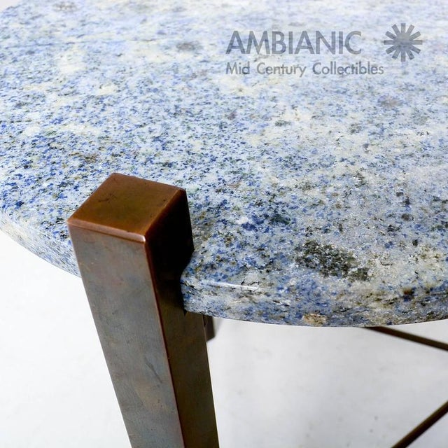 1980s Blue Granite & Solid Bronze Side Table For Sale - Image 5 of 10