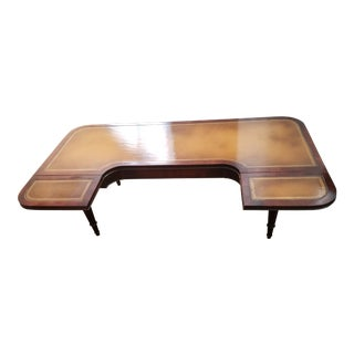 Traditional Leather Coffee Table with Drop Down Sides For Sale