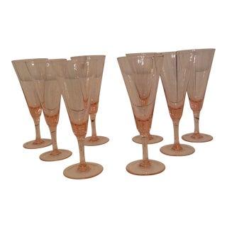 Vintage Pink Crystal Champagne Flutes - Set of 8 For Sale