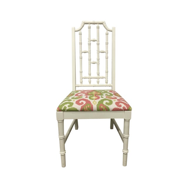 White Bamboo Chair W/ Duralee Pink & Green Seat - Image 1 of 8