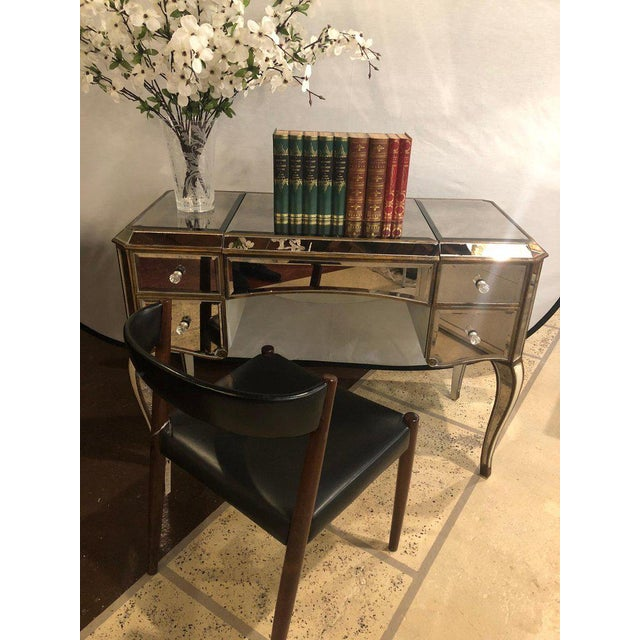 Hollywood Regency Style Mirror Flip Top Vanity Desk or Dressing Table For Sale - Image 4 of 12