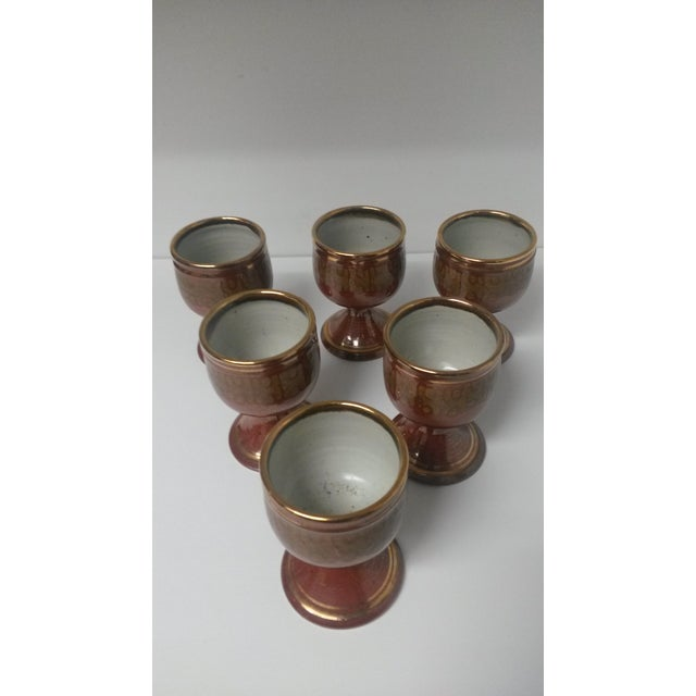 Mid-Century Artisan Pottery Rust and Gold Wine Goblets Signed Parker - Set of 6 For Sale In Houston - Image 6 of 13