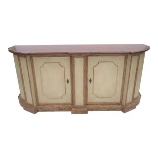 An Italian Style Distressed Buffet / Credenza Cabinet Michael Taylor Designs For Sale