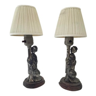 Asian Silver Figural Small Lamps- a Pair For Sale