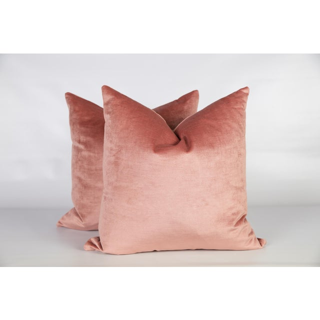 Blush Pink Velvet Greek Key Pillows, a Pair For Sale - Image 4 of 6