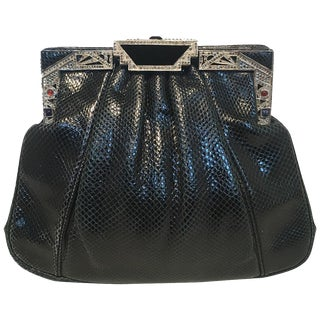 Judith Leiber Vintage Black Lizard Art Deco Embellished Top Clutch For Sale