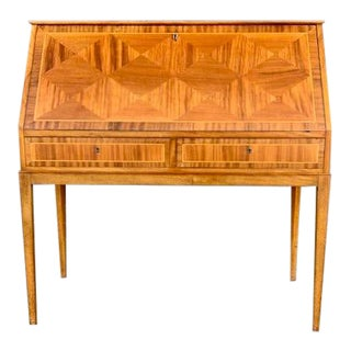Swedish 1950's Secretary Desk in Walnut Parquetry With Golden Birch Wood Interior For Sale