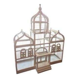 19th Century Art Deco Taj Mahal White Wood Birdcage