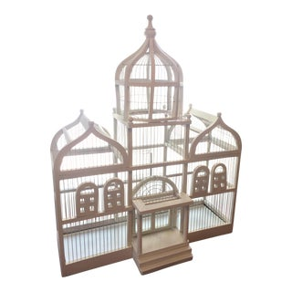 Make an Offer: 19th Century Art Deco Taj Mahal White Wood Birdcage