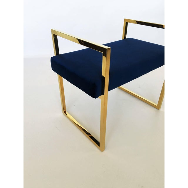 Mid 20th Century Pair of Polished Brass Benches in the Style of Charles Hollis Jones For Sale - Image 5 of 8
