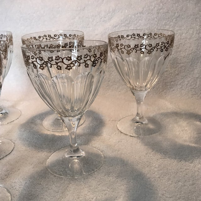 Crystal Goblets With Gold Leaves Trim - Set of 6 - Image 3 of 9